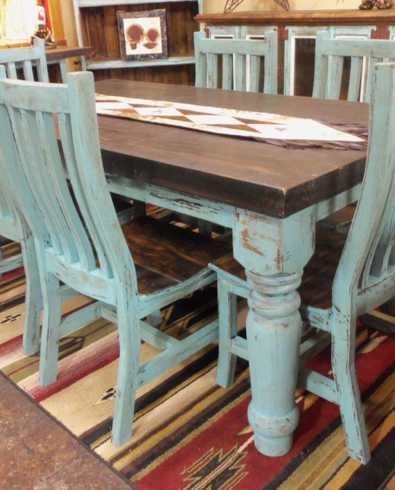 aqua distressed dining room set – rick's home store