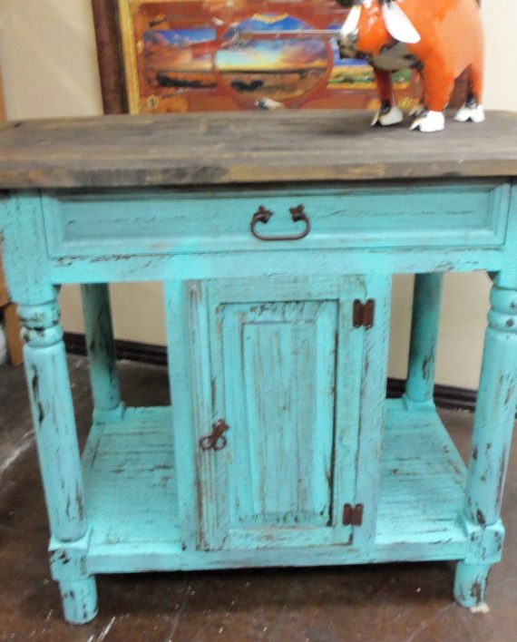 Turquoise Rustic Kitchen Island – Rick\'s Home Store
