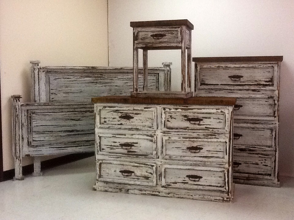Promo white distressed bedroom set rick 39 s home store for White dresser set bedroom furniture