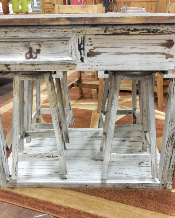 Kitchen Island 4 Stools white rustic kitchen island w/ 4 stools – rick's home store