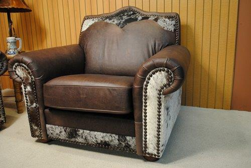 Home / Shop / Rustic Furniture / Living Room / Chairs and Recliners / CUSTOM LEATHER AND COWHIDE CHAIR & CUSTOM LEATHER AND COWHIDE CHAIR u2013 Ricku0027s Home Store