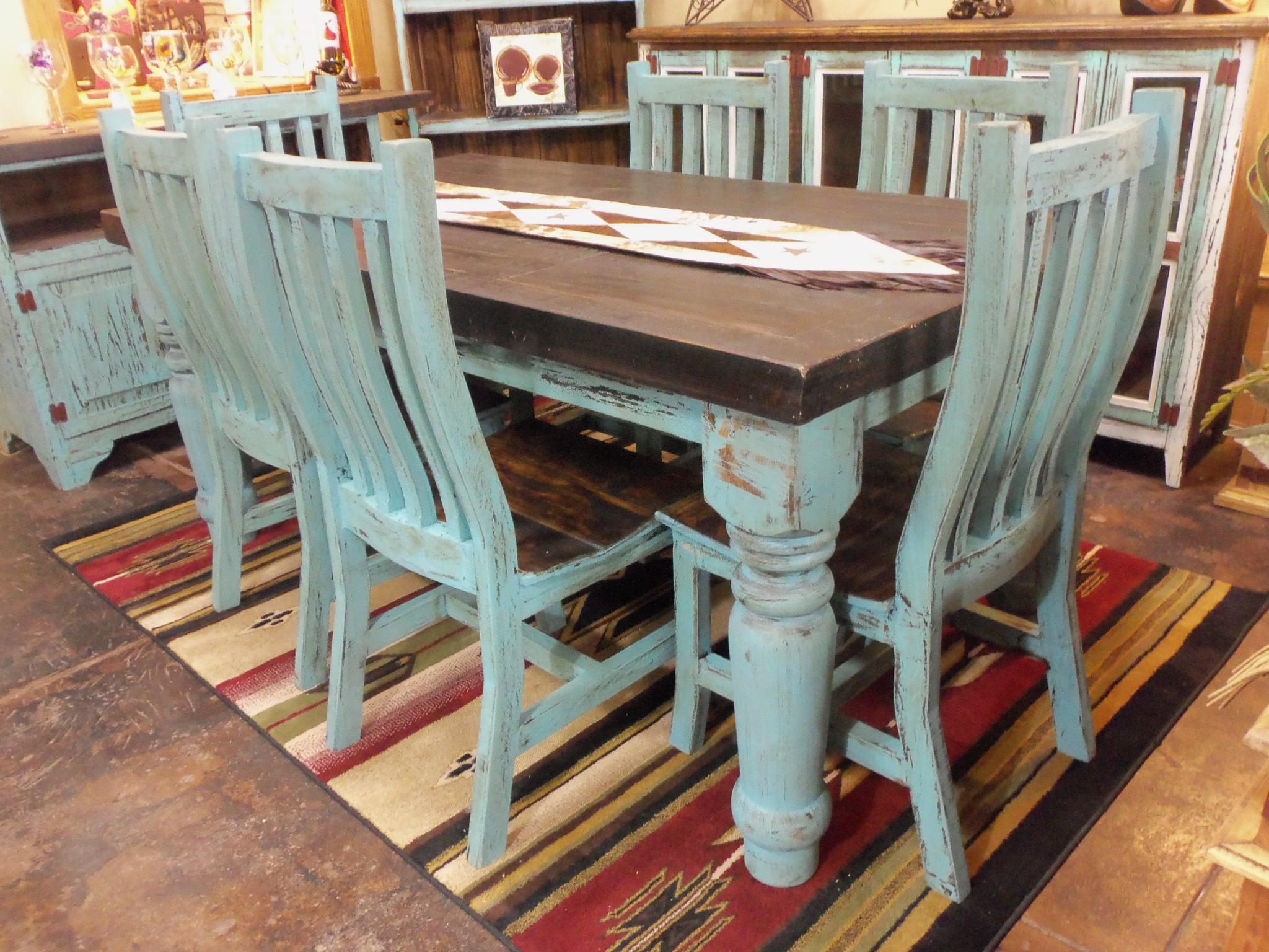 Aqua Distressed Dining Room Set