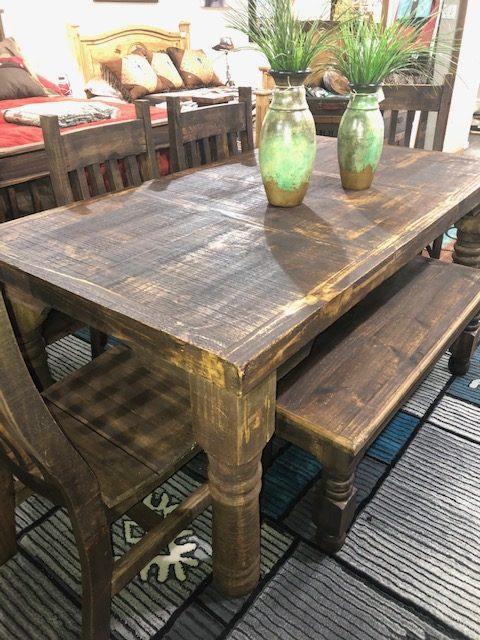Dark wood rect w bench 1