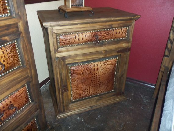 Brown Leather King Bed Nightstand