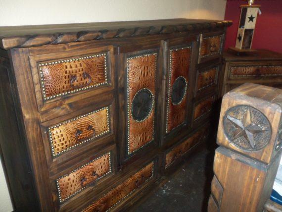 Brown Leather King Dresser 003