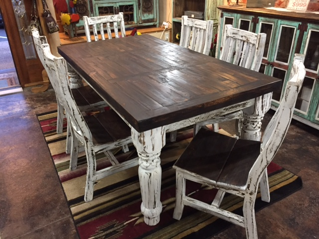 distressed white dining room furniture | White Distressed Dining Room Set – Rick's Home Store
