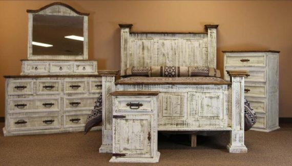 LMT White Washed Bedroom Set