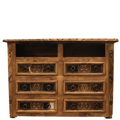 cowhide rope and star tv dresser